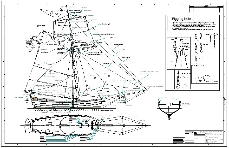 Detailed rigging drawing including rigging notes